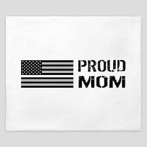 U.S. Flag White Line: Proud Mom (White) King Duvet