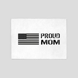 U.S. Flag White Line: Proud Mom (Wh 5'x7'Area Rug