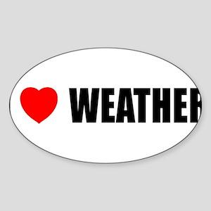 I Love Weather Oval Sticker