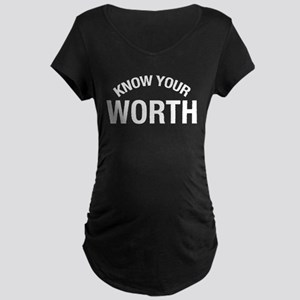 Know Your Worth Maternity Dark T-Shirt
