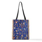 Blue Floral Oriental Carpet Polyester Tote Bag