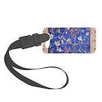 Blue Floral Oriental Carpet Luggage Tag
