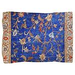 Blue Floral Oriental Carpet Pillow Sham