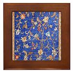 Blue Floral Oriental Carpet Framed Tile