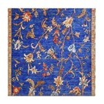 Blue Floral Oriental Carpet Tile Coaster