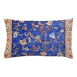 Blue Floral Oriental Carpet Pillow Case