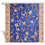 Blue Floral Oriental Carpet Shower Curtain
