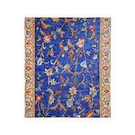 Blue Floral Oriental Carpet Throw Blanket