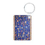 Blue Floral Oriental Carpet Keychains