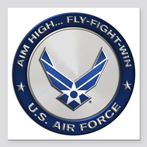 "USAF Motto Aim High Square Car Magnet 3"" x 3"""