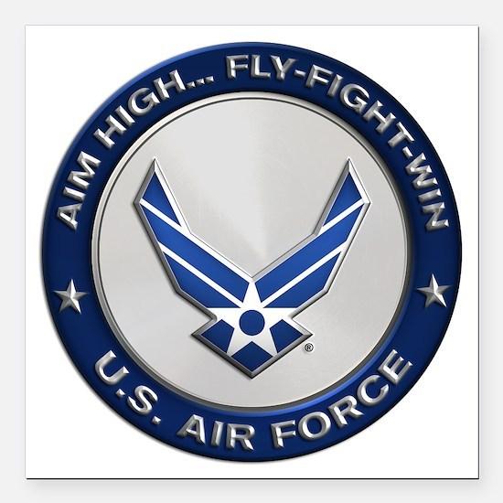 """USAF Motto Aim High Square Car Magnet 3"""" x 3"""""""