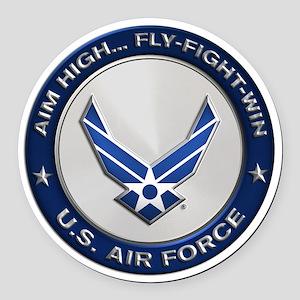 USAF Motto Aim High Round Car Magnet