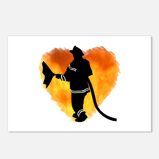 Firefighter and Flames Postcards (Package of 8)