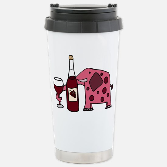 Pink Elephant Drinking Wine Mugs