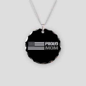 U.S. Flag Grey Line: Proud M Necklace Circle Charm
