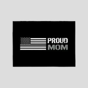 U.S. Flag Grey Line: Proud Mom (Bla 5'x7'Area Rug