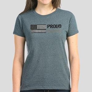 U.S. Flag Grey Line: Proud Mo Women's Dark T-Shirt