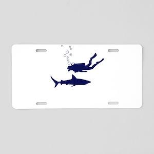 shark diving Aluminum License Plate