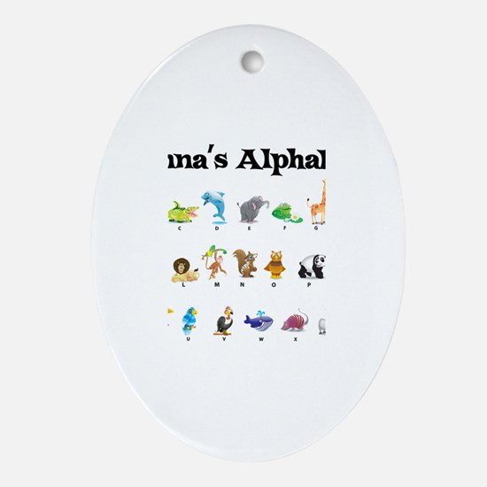 Anna's Animal Alphabet Oval Ornament