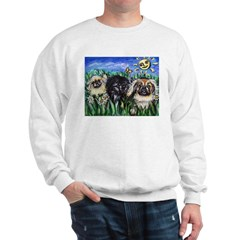 Happy Pekes under the smiling Sweatshirt