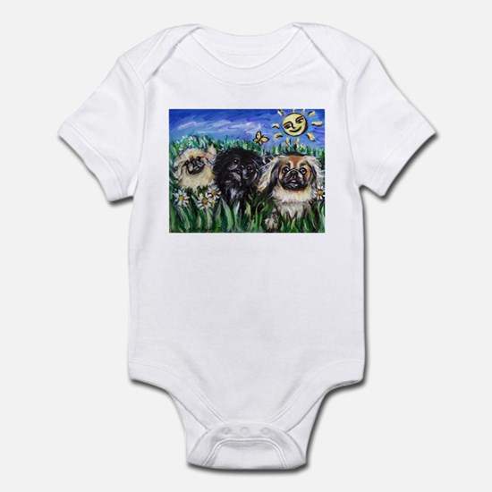 Happy Pekes under the smiling Infant Bodysuit