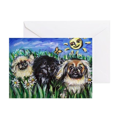 Happy Pekes under the smiling Greeting Cards (Pk o