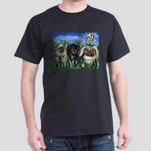 Happy Pekes under the smiling Dark T-Shirt