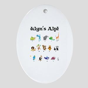 Brooklyn's Animal Alphabet Oval Ornament