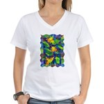 Leaf Mosaic Women's V-Neck T-Shirt
