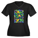Leaf Mosaic Women's Plus Size V-Neck Dark T-Shirt