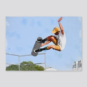 Skateboarder Flying Above the Crowd 5'x7'Area Rug
