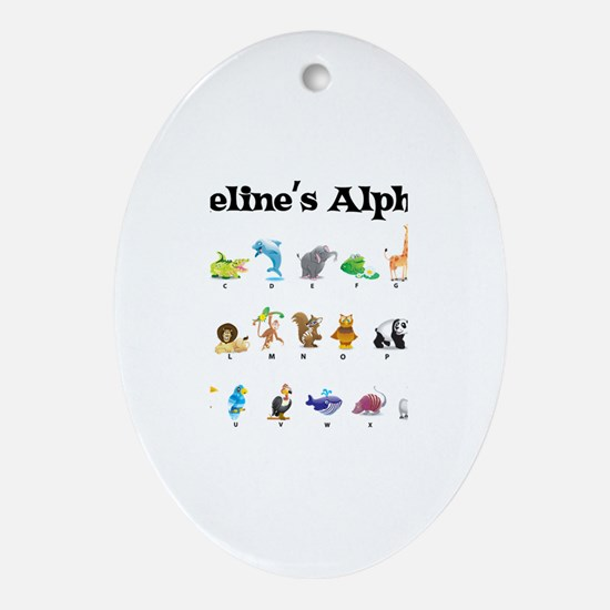Madeline's Animal Alphabet Oval Ornament