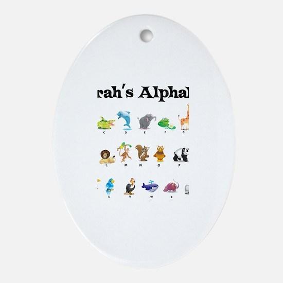 Sarah's Animal Alphabet Oval Ornament