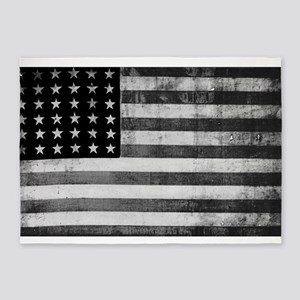 American Vintage Flag Black and Whi 5'x7'Area Rug