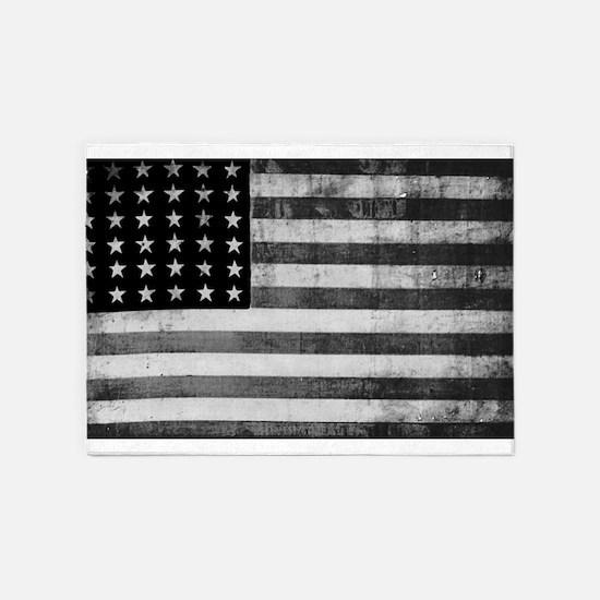 American Vintage Flag Black and Whi 5'x7'Area Rug