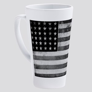 American Vintage Flag Black and Wh 17 oz Latte Mug