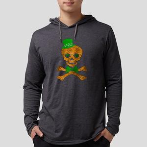 St. Patrick's Day Tiger Skull Mens Hooded Shirt