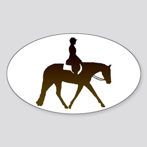 Hunter horse in brown Oval Sticker