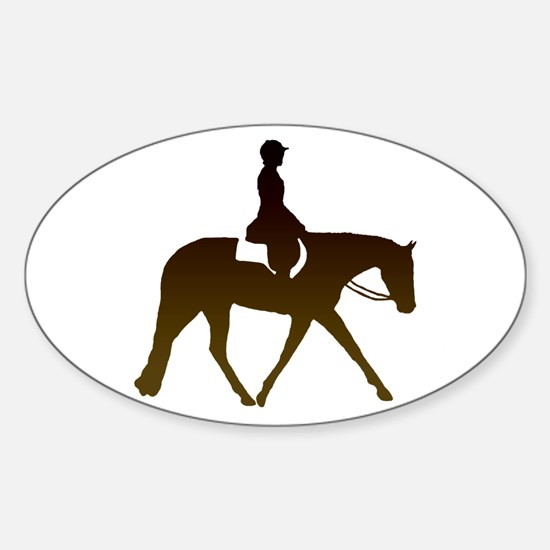 Hunter horse in brown Oval Decal