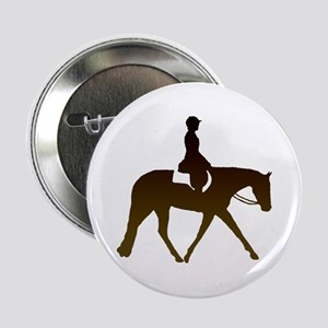 "Hunter horse in brown 2.25"" Button"