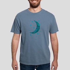 Cyan Blue Moon Stars Flowers T-Shirt
