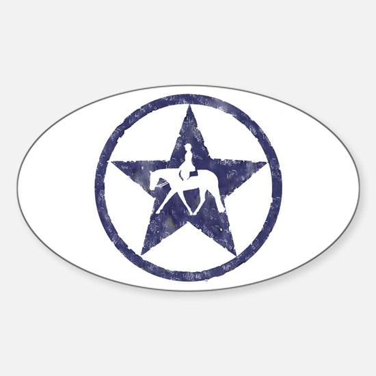 Texas star english horse Oval Decal