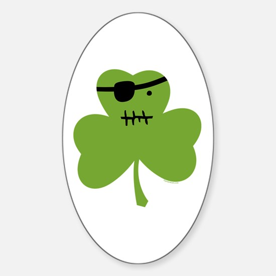 Pirate Shamrock Oval Decal