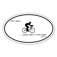 Life is short cycling Oval Sticker