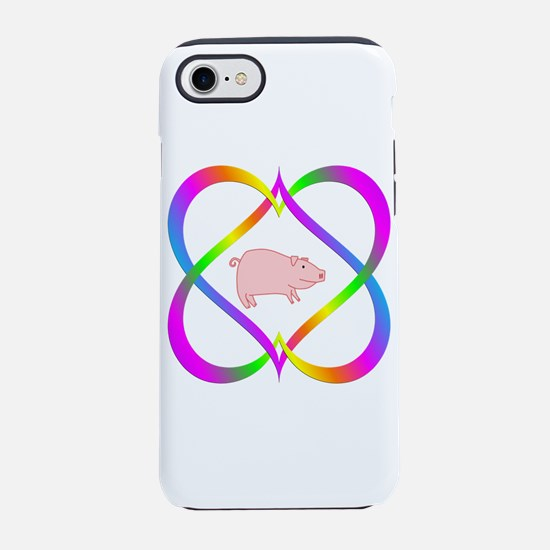 Fun Pig in Linking Hearts iPhone 8/7 Tough Case