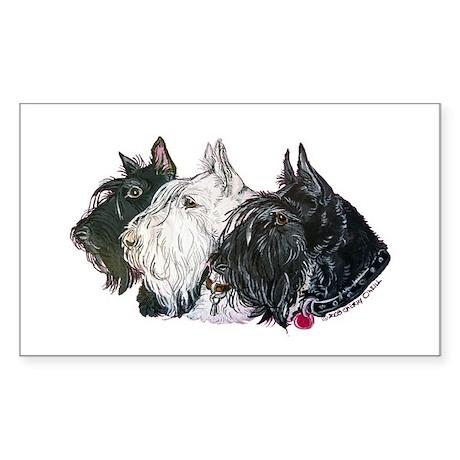 Scottish Terrier Trio Sticker (Rectangle)