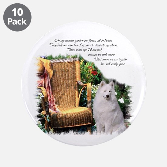 "Samoyed Art 3.5"" Button (10 pack)"