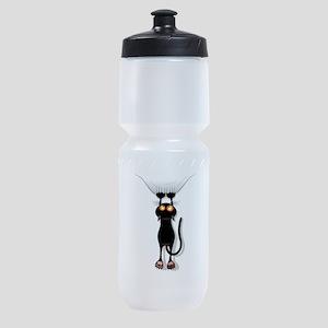 Funny Black Cat Hangin On Sports Bottle