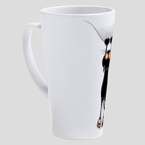 Funny Black Cat Hangin On 17 oz Latte Mug