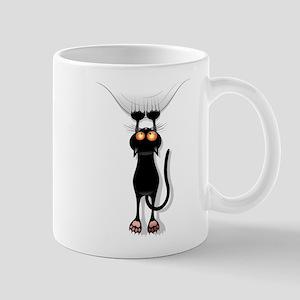 Funny Black Cat Hangin On Mugs